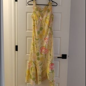 Yellow Floral Sheer Dress with Satin Liner 2 in 1